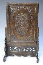 Chinese Bronze Table Screen w/ Figural Scene