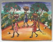 Haitian Village Scene Folk Art Painting