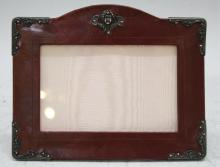 Sterling & Cordovan Leather Cherub Picture Frame