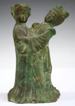 Chinese Patinated Bronze Pair of Figures