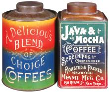 Two Early Coffee Tins