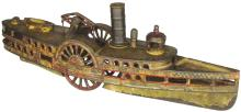Cast Iron City of New York Steam Boat Pull Toy