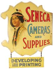 Rare Seneca Camera Flange Sign