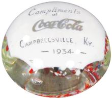 Rare 1934 Coca Cola Art Glass Paper Weight