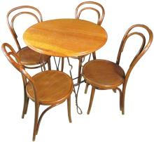 Ca. 1895 Ice Cream Parlor Table with 4 Chairs