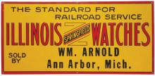 Illinois Springfield Watches Embossed Tin Sign