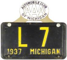 1937 Michigan License Plate