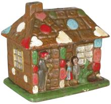 Rare Cast Iron Ginger Bread House Still Bank