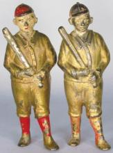 Two A.C. Williams Cast Iron Baseball Player Banks