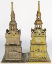 Two Cast Iron Tower Still Banks