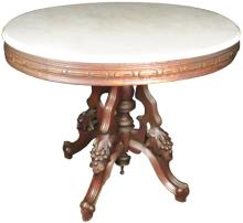 Oval Marble Top Parlor Table