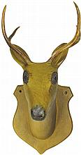 Hand Carved Wood Prong Horn Deer Head Mount