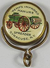 Celluloid Watch Fob Kemp Manure Spreader