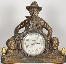 Will Rogers Copper Flashed Clock