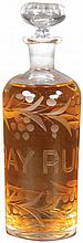 Etched Glass Rum Apothecary Perfume Bottle