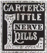 Carter's Little Nerve Pills Reverse Glass Sign