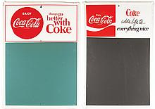 2 Coca Cola Self Framed Tin Menu Board Signs