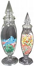 Pair of Century Sample Bottle Candy Jars