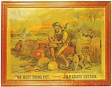 J.P. Coats Cotton Paper Sign