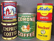 Collection of Five Coffee Tins