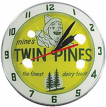 Twin Pines Dairy Double Bubble Advertising Clock