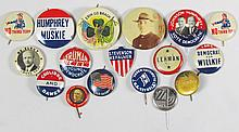 Collection of 17 Militaria and Political Pinbacks