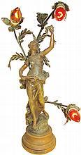 Auguste Moreau Art Nouveau Lamp