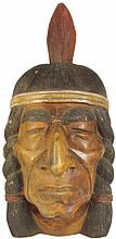Hand Carved Native American Brave Head