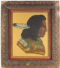 Hand Painted Leather Native American Indian