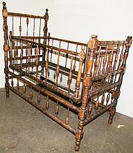 Oak Child's Antique Stick and Ball Crib