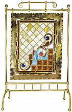 Leaded Glass Jeweled Decorative Fire Place Screen