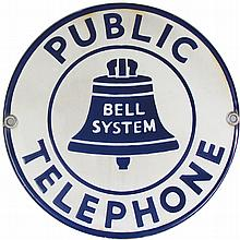 Public Telephone Porcelain Sign