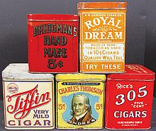 Collection of Five 50 Count Cigar Tins