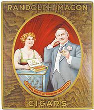 Randolf Macon Cigars Self Framed Tin Sign