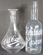 Enamel Label Whiskey Bottle and Decanter
