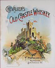 Chevalier's Old Castle Whiskey Paper Sign