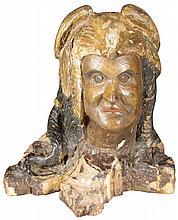 Hand Carved Folk Art Native American Bust
