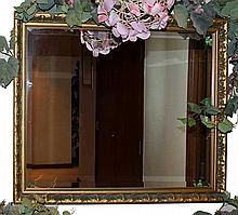 Two pieces of wooden gild decorated frame mirror and square woodentable
