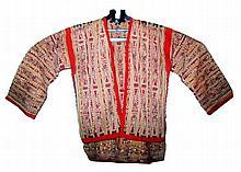 Dayak ceremonial dress, the material of the fiber herbs and natural colors (warp ikat weaving technique)  shoulder w: 92 cm, sleeve l: 40 cm, l:63 cm