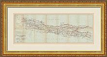 A lithograph map of Java and Madoera. 1926. MGCA #21454  image size 27.3 x 72.4 cm. professinally mounted and frame
