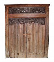 A Javanese wooden carved doorway   250 x 150 cm