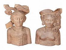 A pair of Balinese wooden   1 pcs, h. 36 cm, l. 22 cm, w. 10 cm1 pcs, h. 32 cm, l. 22 cm, w. 10 cm