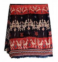 A Sumba cloth with horse pattern  260 X 199 cm