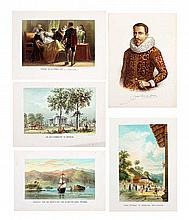 A set of 5 pcs, hand colored lithographs by Tresling & Co.   5 pcs, 27.5 x 20 cms each.