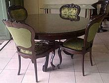 A set dining room furniture, with four chairs.  h. 75 cm, d. 145 cm