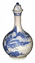A blue and white bottle with lid  h. 35 cm, d. 20 cm