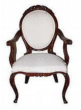 A Victorian style wooden chair with upholstered back and seat  h. 105 cm, l. 63 cm, w. 45 cm