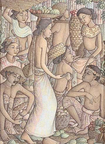 Suarsha, Made Pasar tempera on canvas 32 x 23 cm