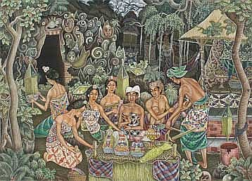 Ngenjuk, Wayan Memulai Upacara acrylics on canvas