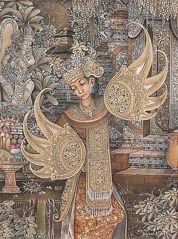 Tutur, I Wayan Penari tempera on canvas 50 x 40 cm